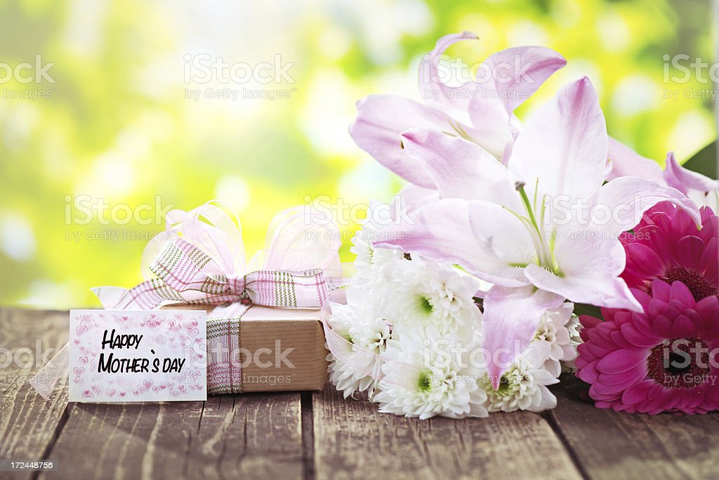 Beautiful fresh flower bouquet with morhers day card royalty-free stock photo