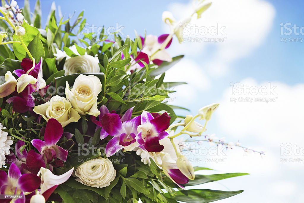 Beautiful fresh flower bouquet with sky background royalty-free stock photo