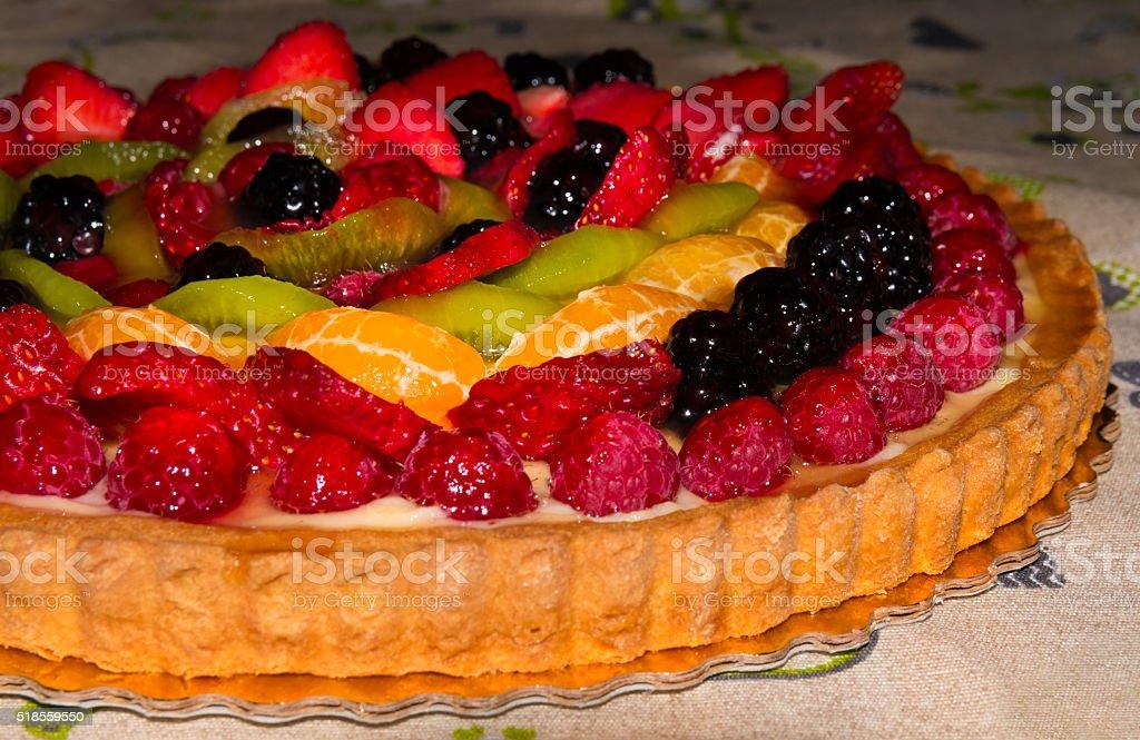 Beautiful fruit cake stock photo