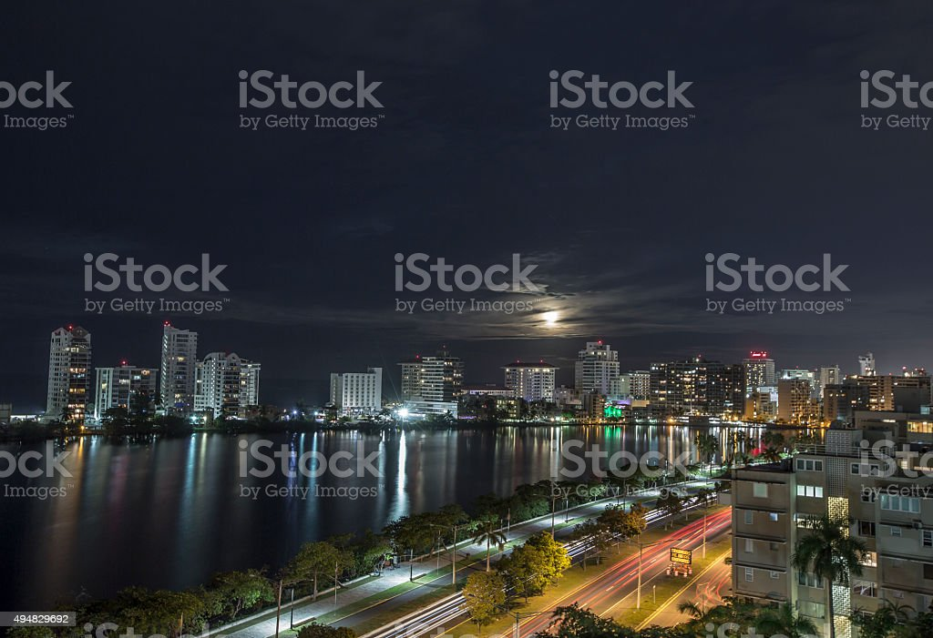 Beautiful full moon over San Juan, Puerto Rico stock photo