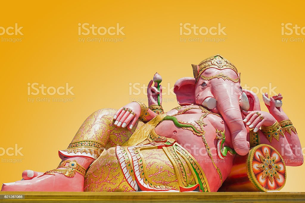 Beautiful Ganesh statue on blue sky at wat saman temple stock photo