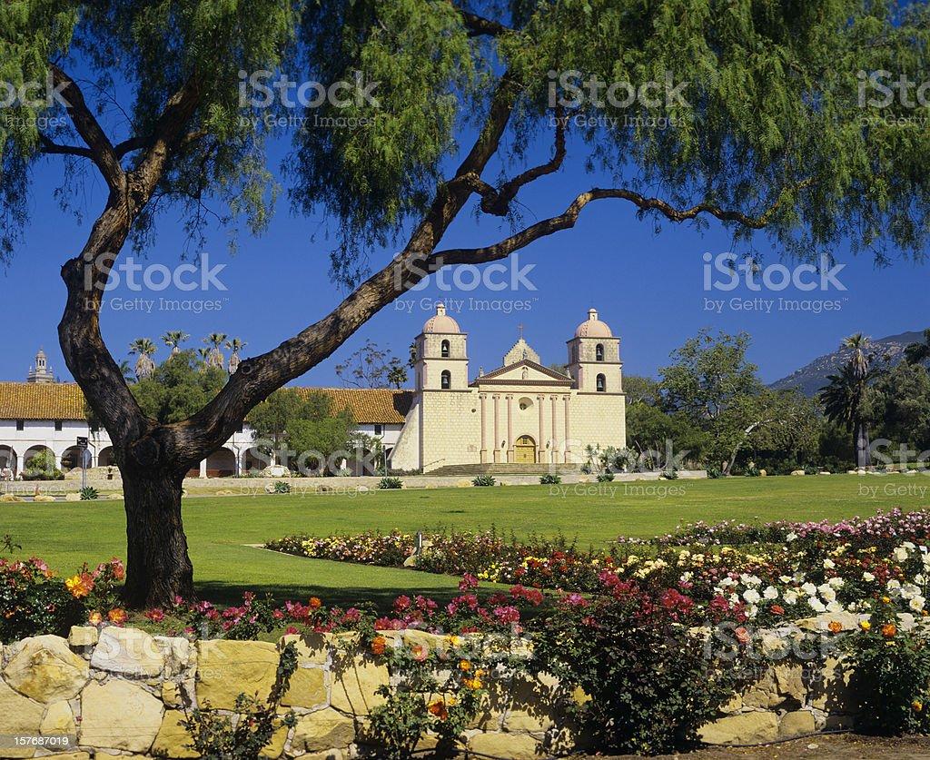 Beautiful garden at Santa Barbara Mission stock photo