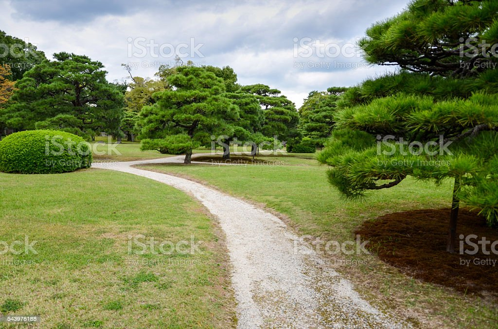 Beautiful garden, Nijo Castle, Kyoto, Japan stock photo