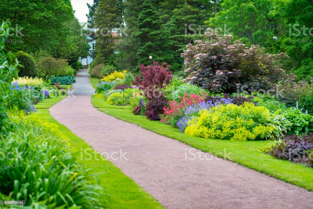 Beautiful garden path stock photo