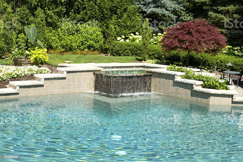 Beautiful garden with a pool stock photo
