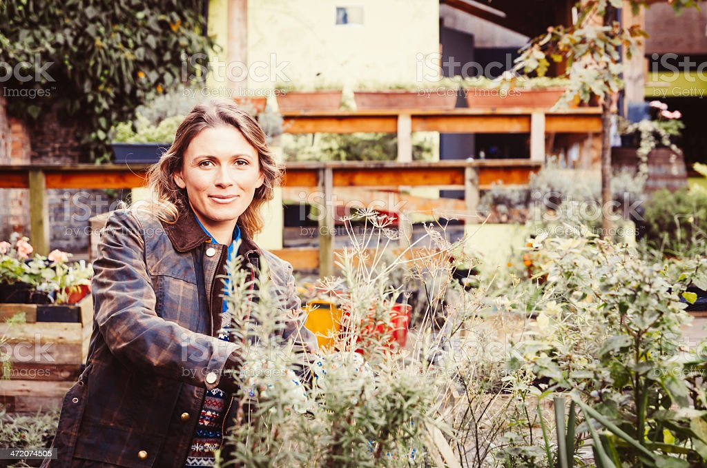 Beautiful Gardener Holding A Plant Of Rosemary stock photo
