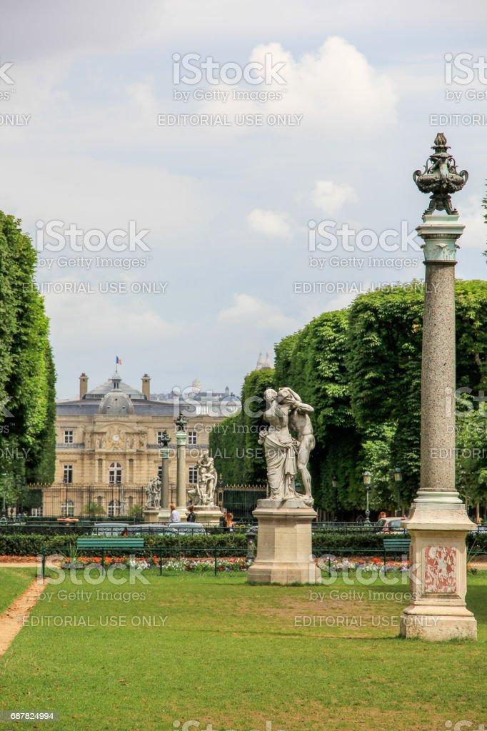 Beautiful gardens around the luxembourg palace, Paris stock photo