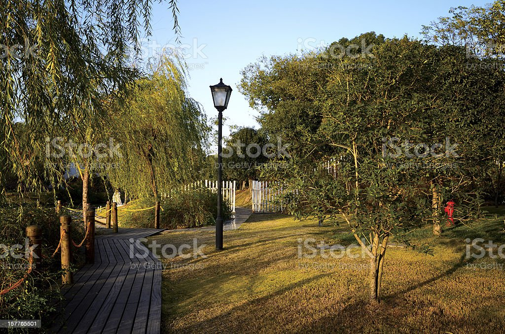 Beautiful gardens in the dusk sunset royalty-free stock photo