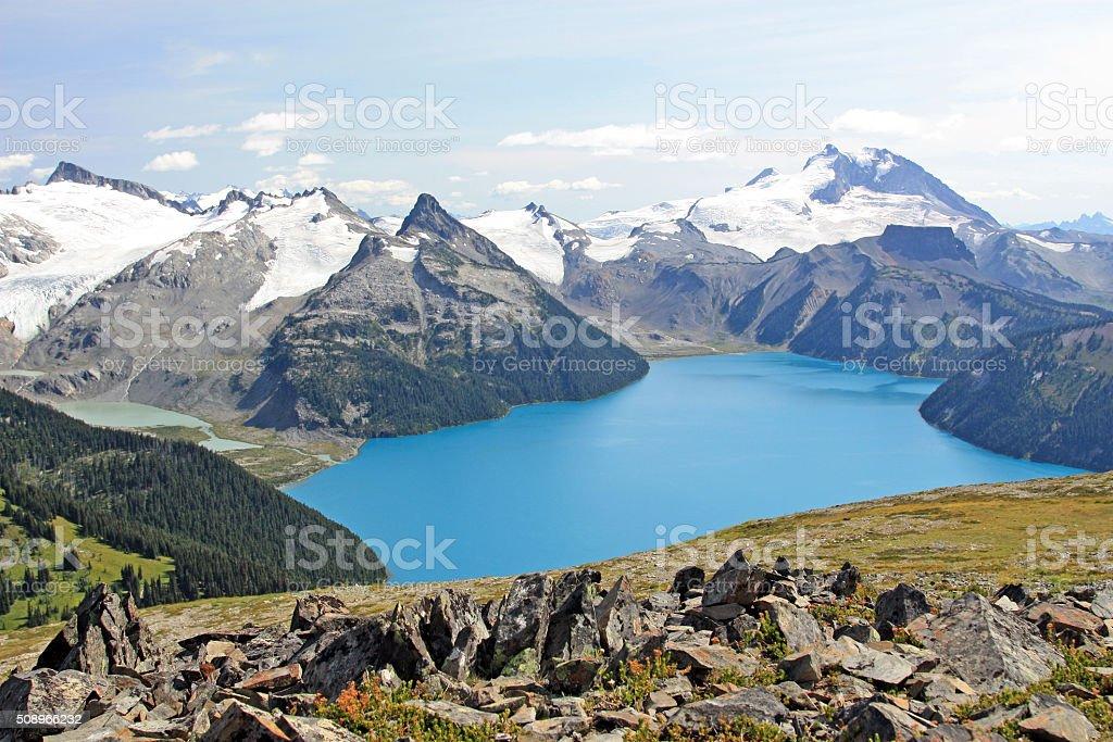 Beautiful Garibaldi Lake near Vancouver, BC, Canada. stock photo