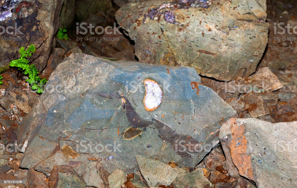beautiful gemstones in the mine stock photo