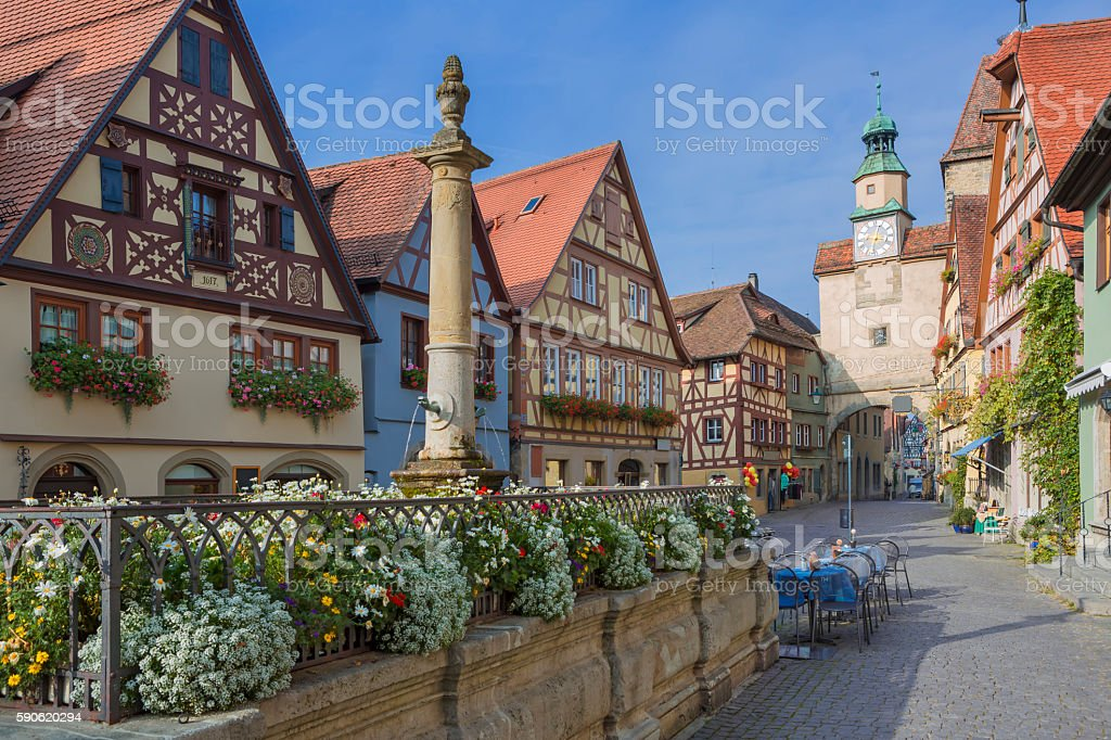 Beautiful german medieval city of Rothenburg stock photo