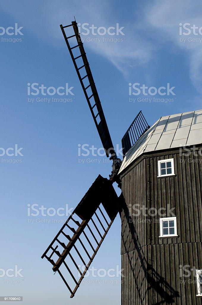 beautiful german windmill landscape stock photo