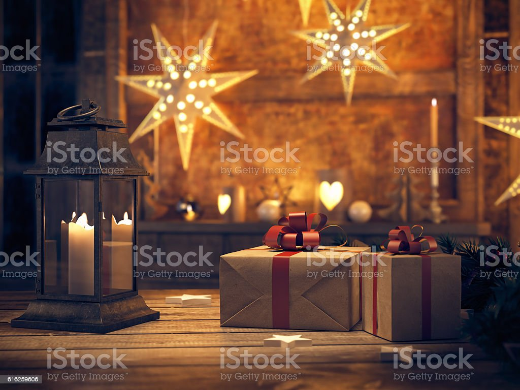 beautiful gift with Christmas ornaments. 3d rendering stock photo