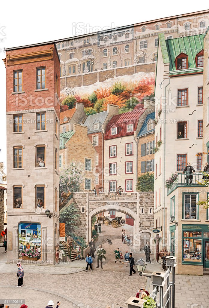 Beautiful gigantic realistic mural in Old Quebec City stock photo