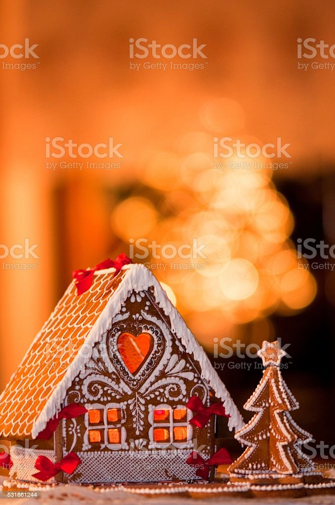 beautiful gingerbread house stock photo
