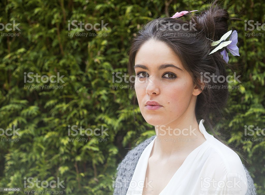 Beautiful girl and butterflies royalty-free stock photo