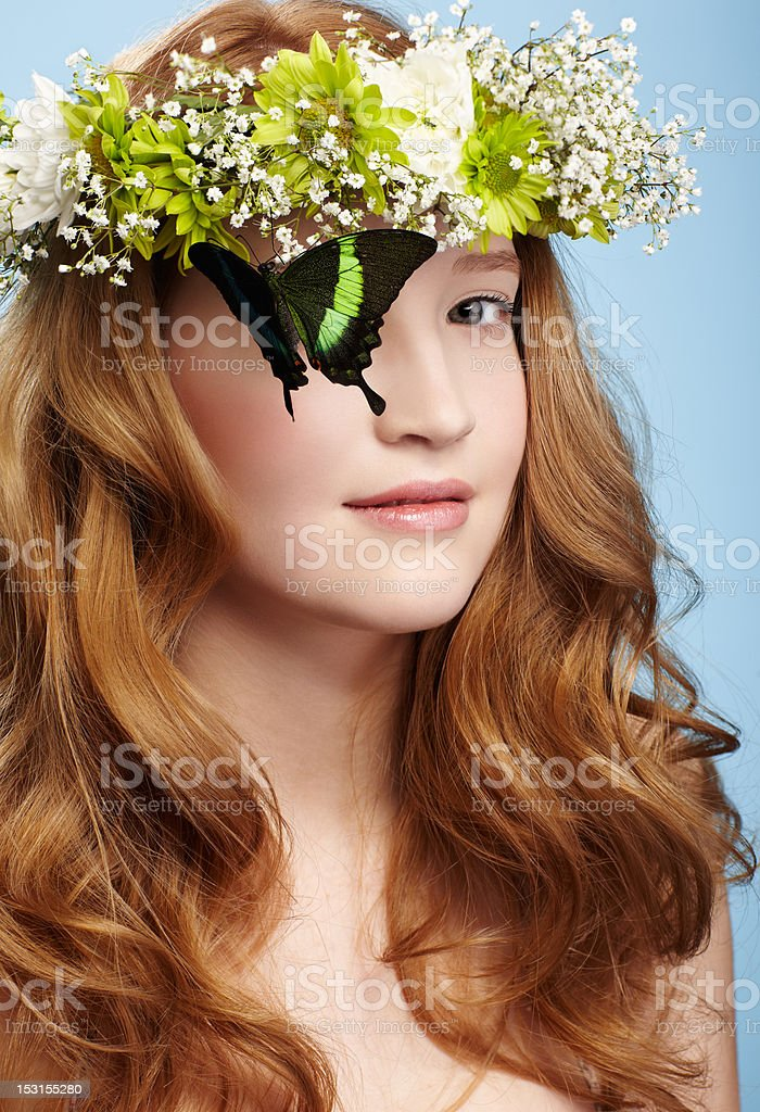 beautiful girl and butterfly royalty-free stock photo