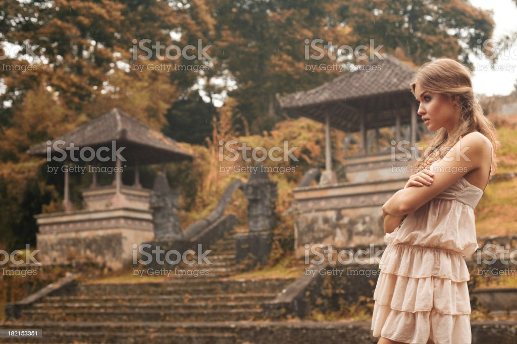 Beautiful girl and Chinese landscape royalty-free stock photo