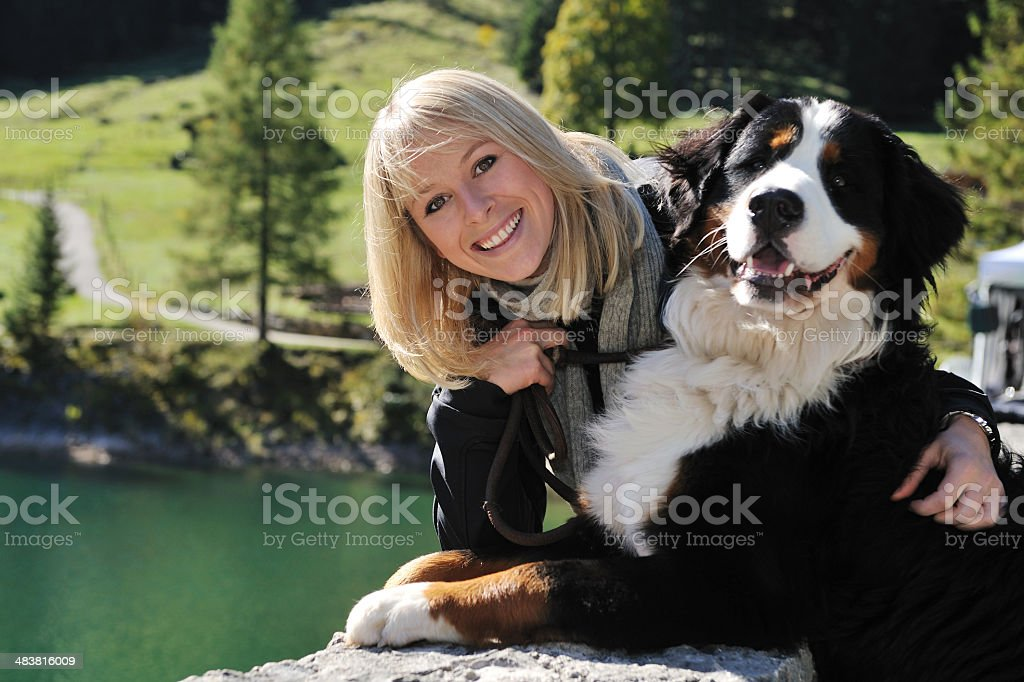 Beautiful Girl and her Dog royalty-free stock photo