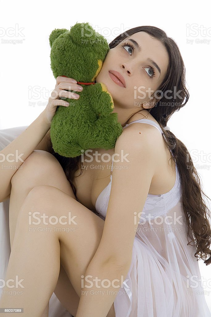 beautiful girl and her plush toy royalty-free stock photo