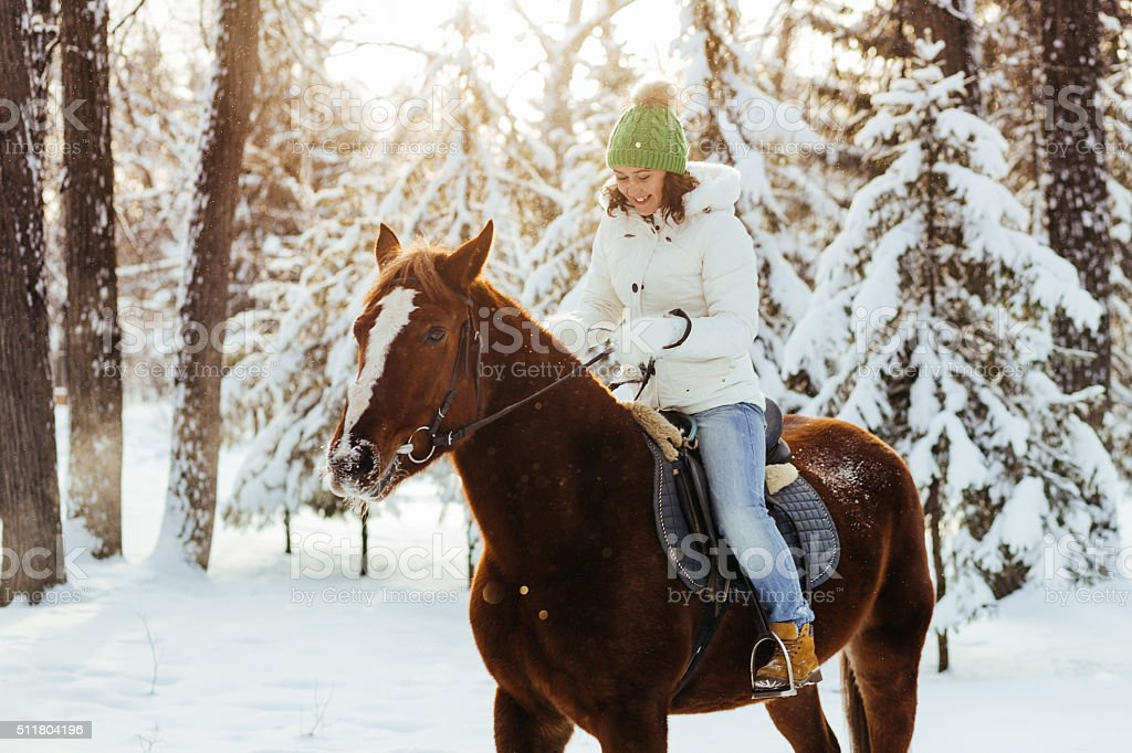 beautiful girl and horse in winter stock photo