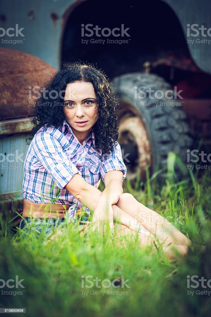 Beautiful girl and the rustic stock photo