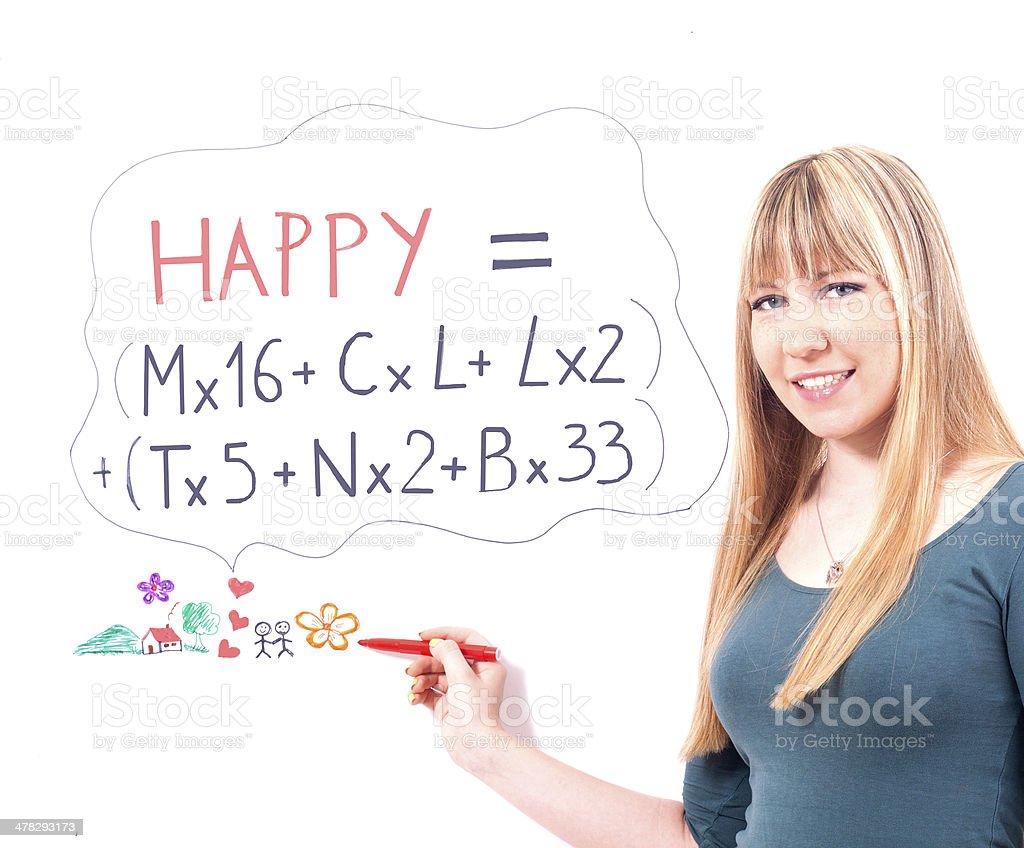 beautiful girl and write formula of happiness royalty-free stock photo