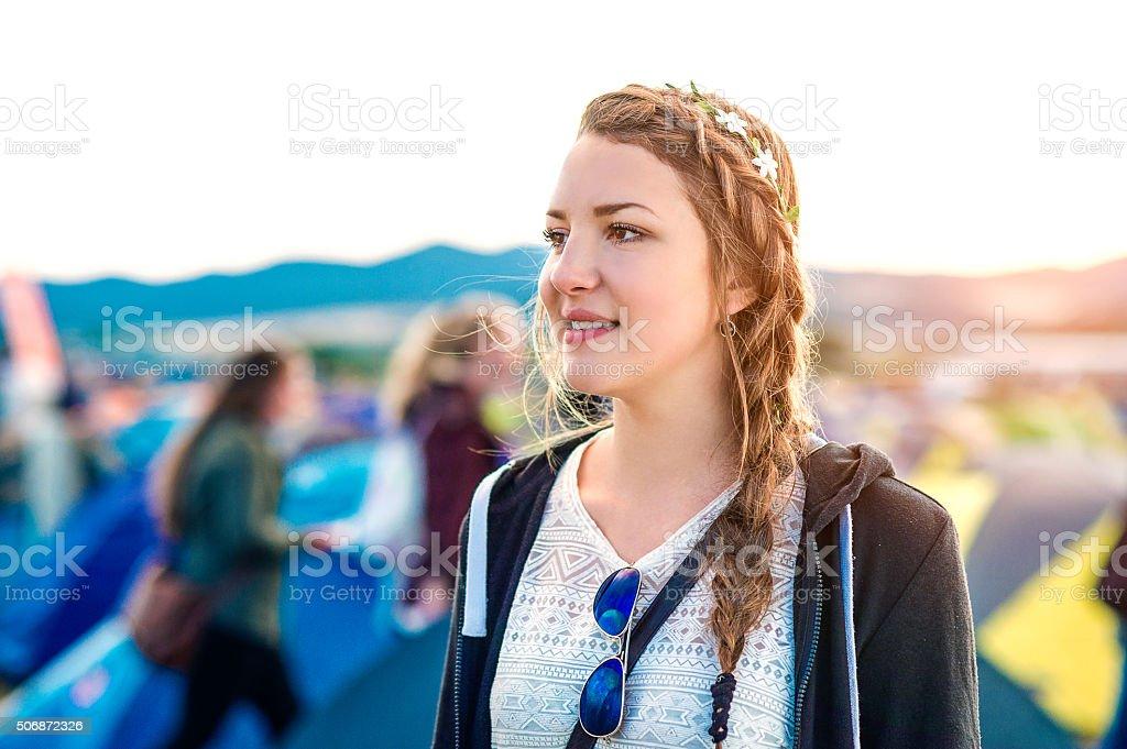 Beautiful girl at summer festival stock photo