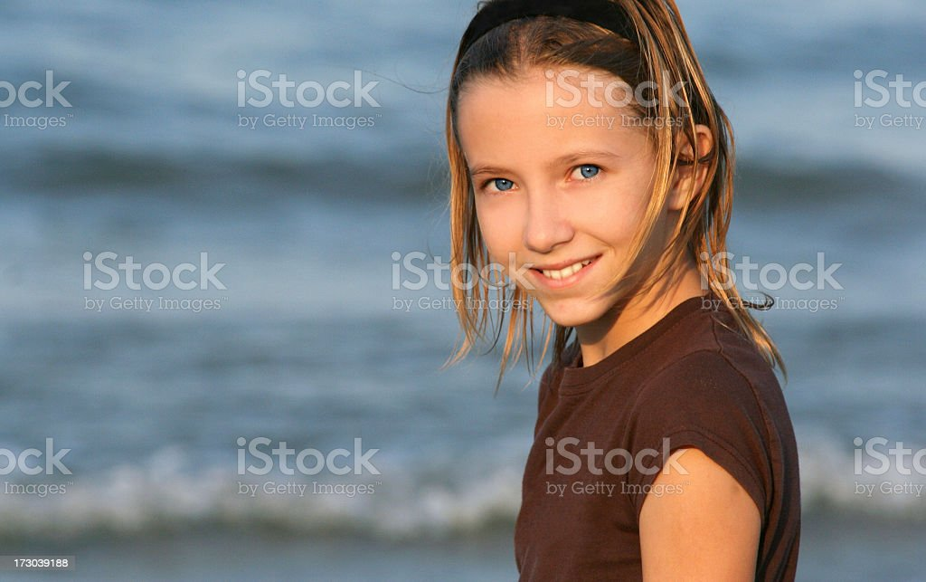 beautiful girl at the beach royalty-free stock photo