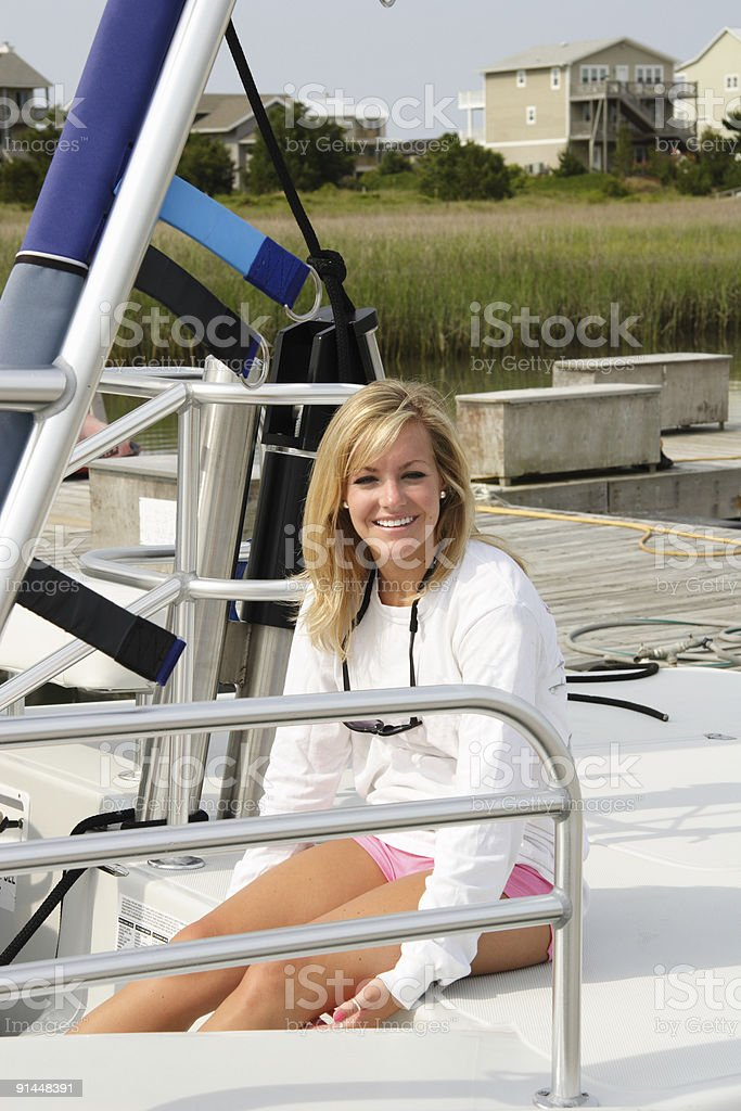 beautiful girl boater royalty-free stock photo