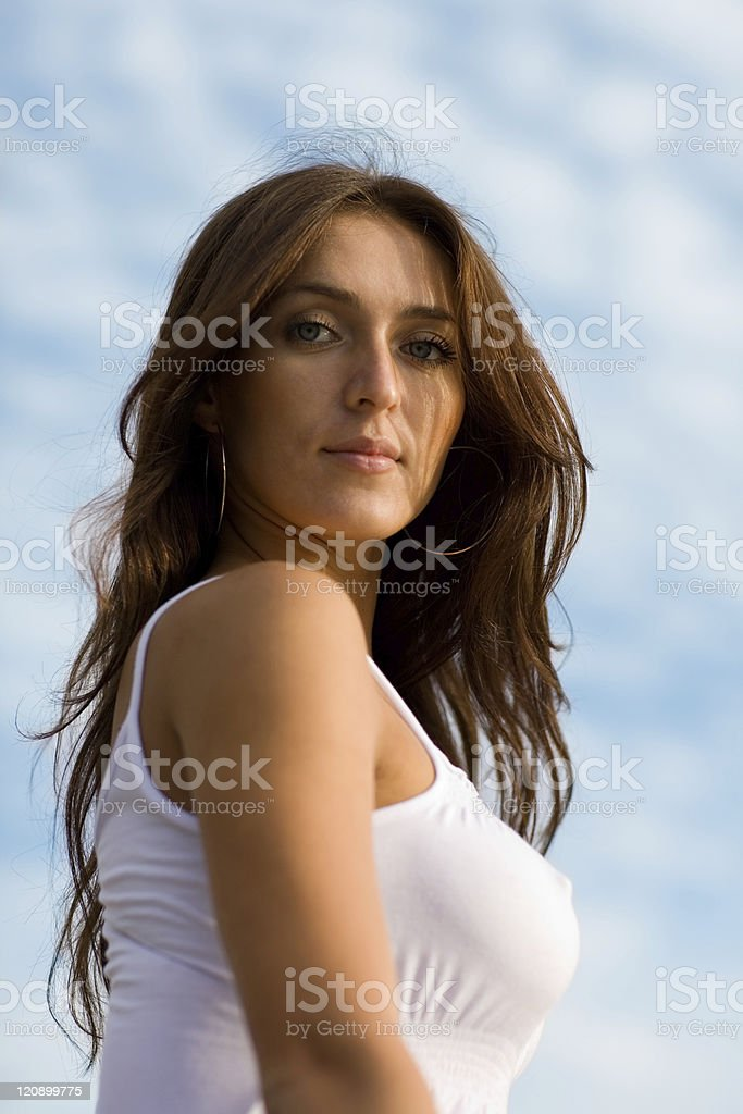 Beautiful girl by the sea. royalty-free stock photo