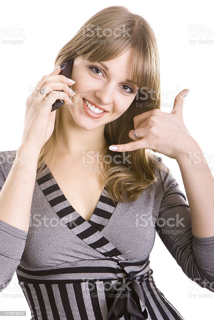 Beautiful girl calling by phone royalty-free stock photo