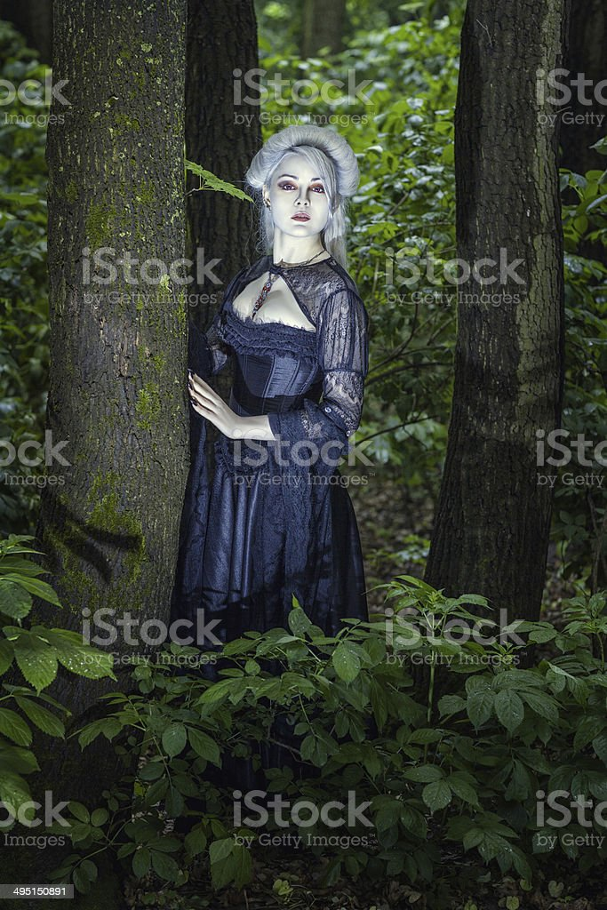 Beautiful girl cast in the woods. stock photo