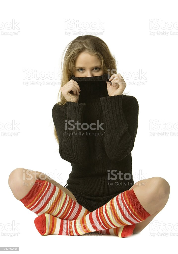 beautiful girl closes person  collar stock photo