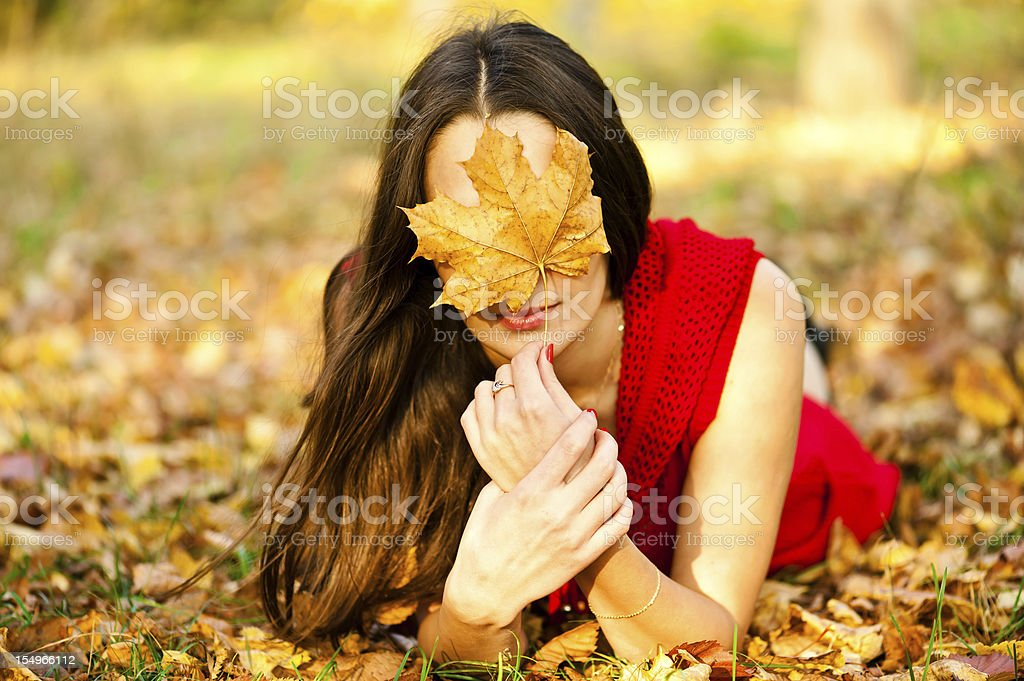 beautiful girl covers face royalty-free stock photo