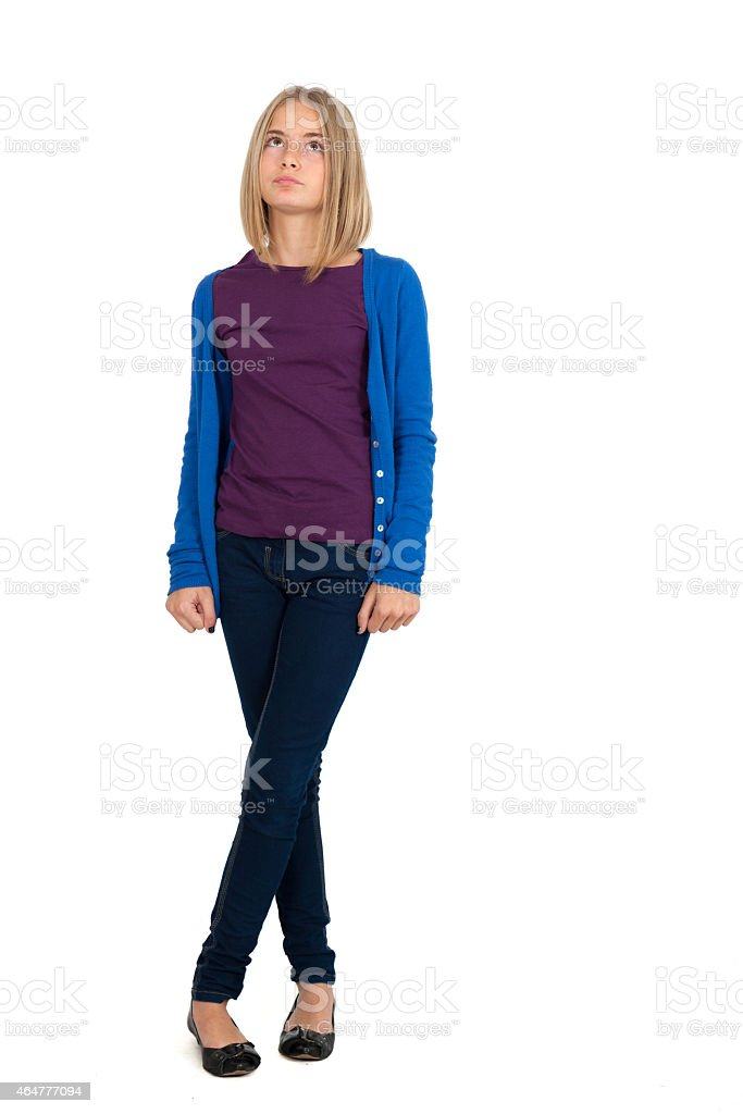 Beautiful girl doing different expressions in different sets of clothes stock photo