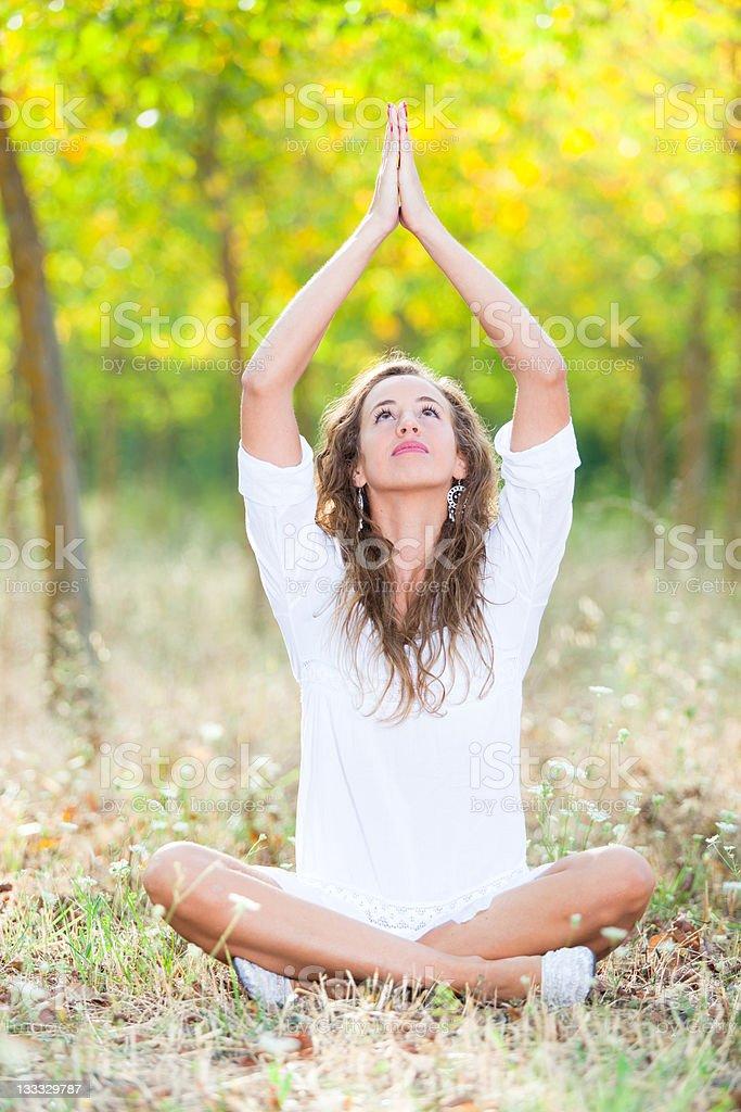 Beautiful Girl Doing Yoga Exercises royalty-free stock photo