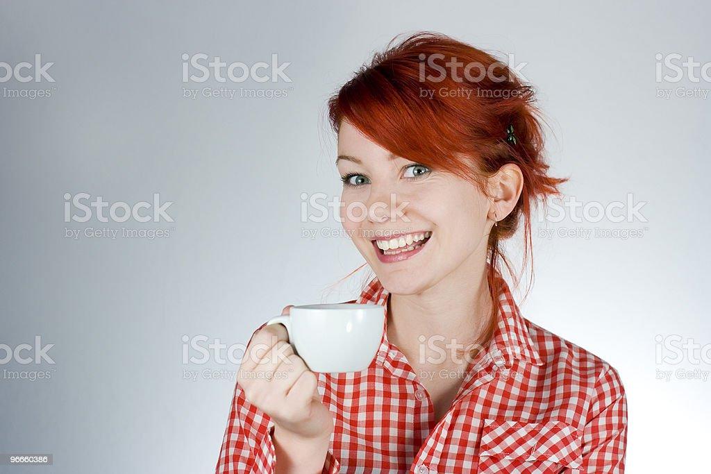 Beautiful girl drinking coffee royalty-free stock photo
