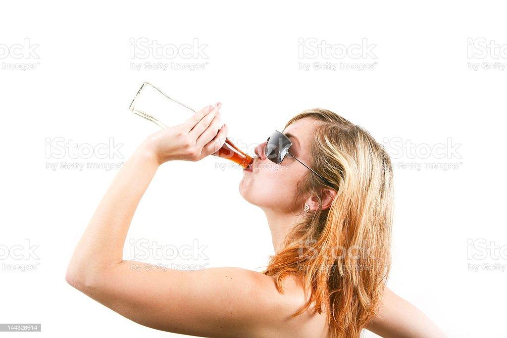 Beautiful girl drinking water royalty-free stock photo
