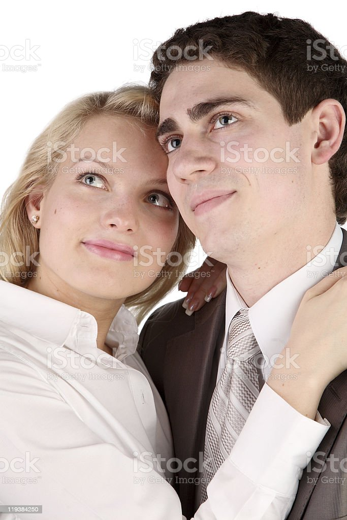 beautiful girl embraces the young man stock photo