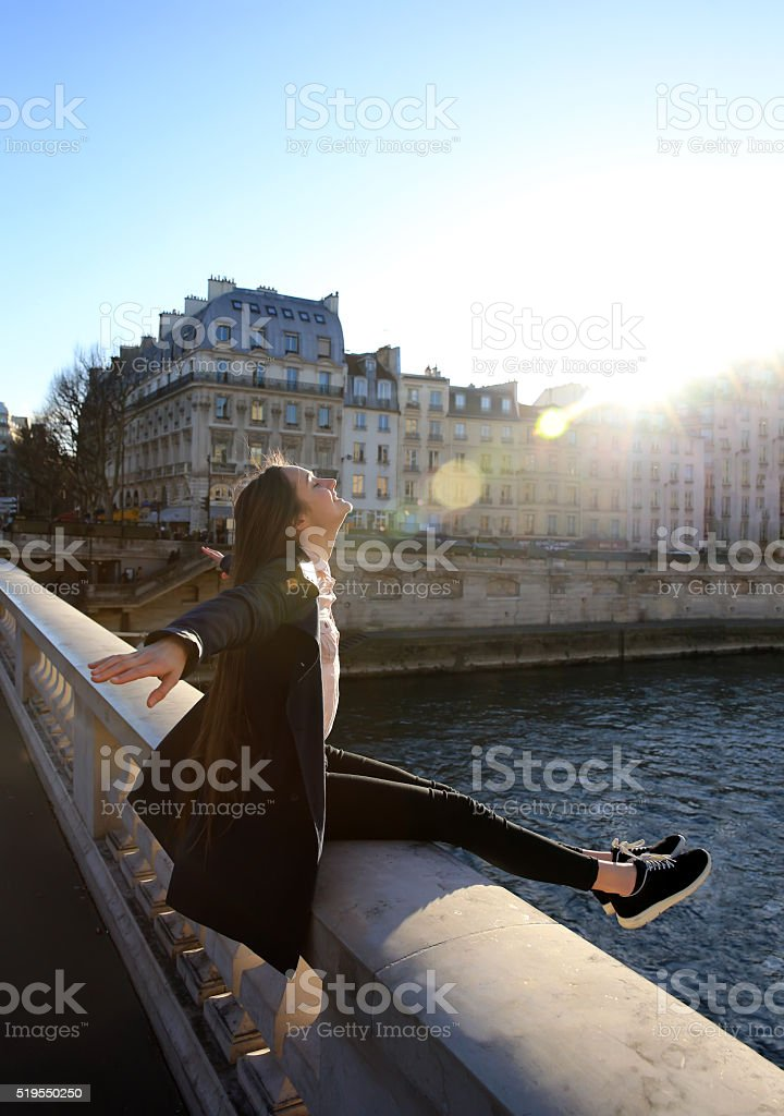 Beautiful girl enjoy in Paris stock photo