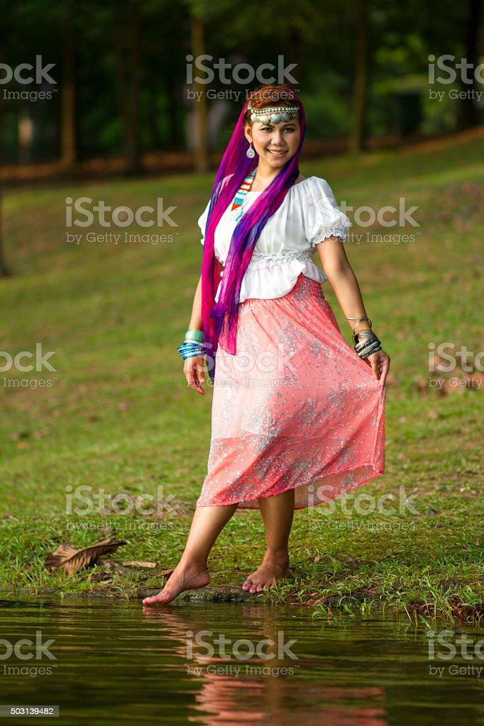 Beautiful girl gypsy stock photo