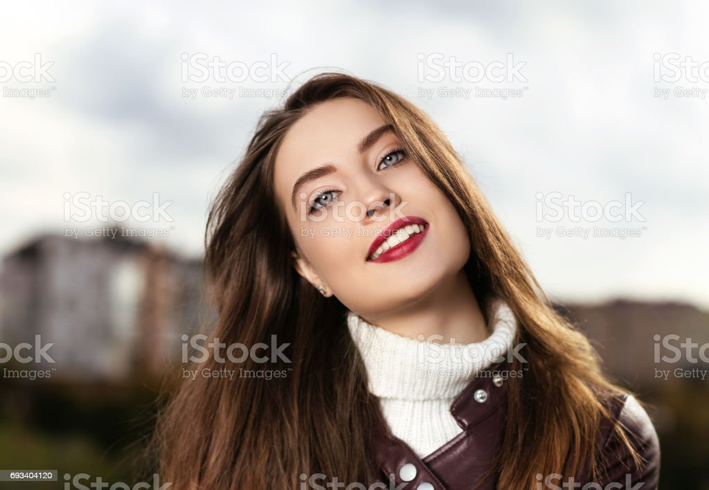 beautiful girl has a rest day in the park stock photo