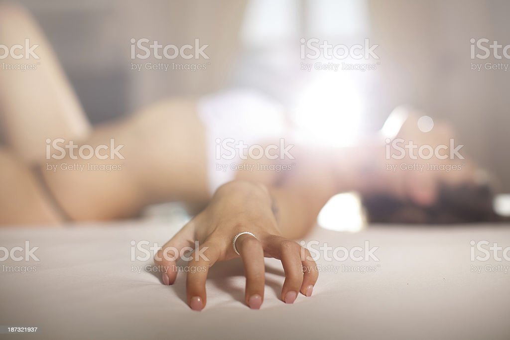 Beautiful girl have orgazm stock photo