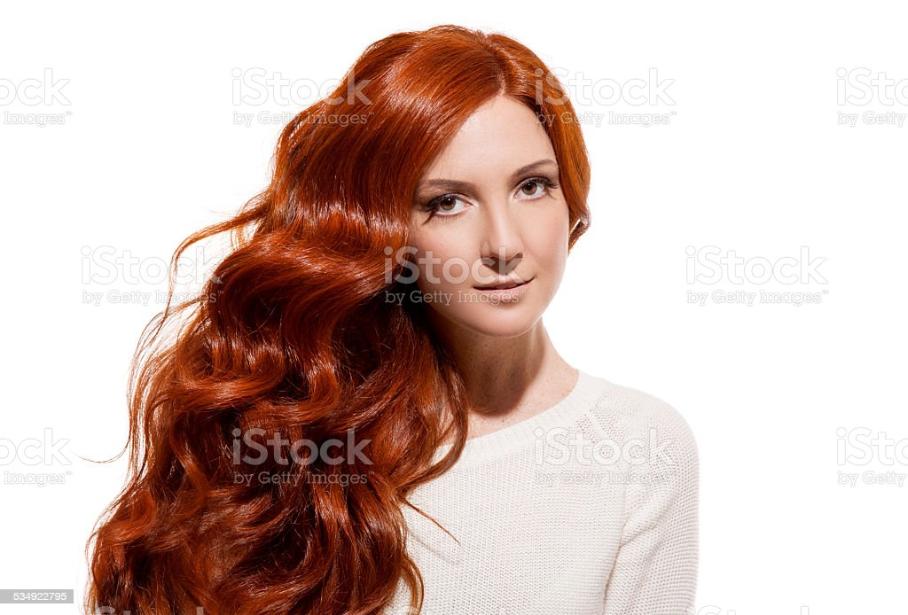 Beautiful Girl. Healthy Long Hair. White Background stock photo
