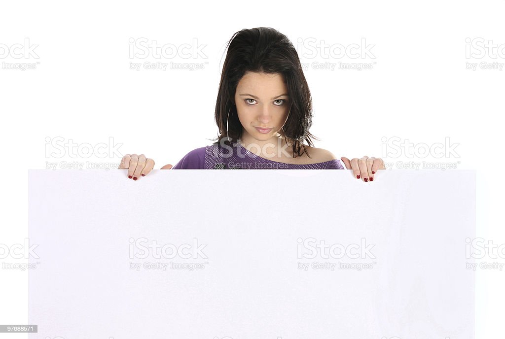 Beautiful girl holding a blank royalty-free stock photo