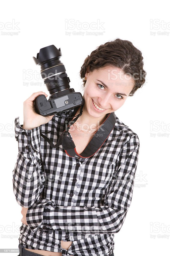 beautiful girl holding a photo camera royalty-free stock photo