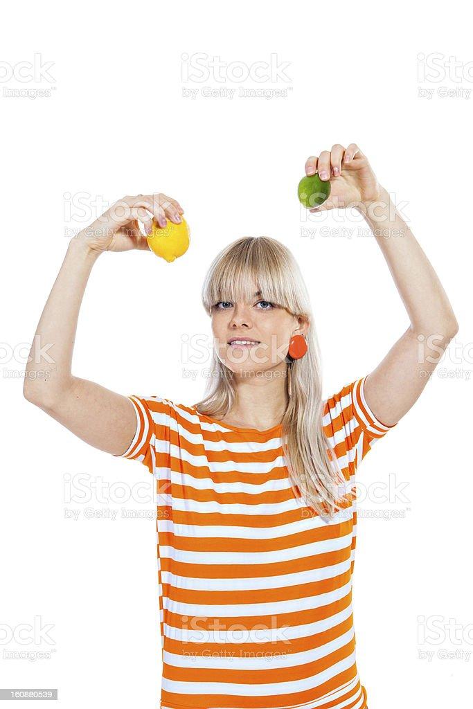 Beautiful girl holding fresh fruit royalty-free stock photo