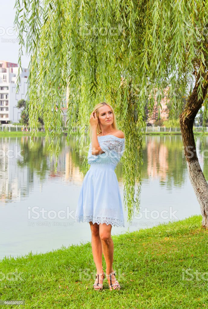 Beautiful girl in a blue dress standing by the lake. stock photo