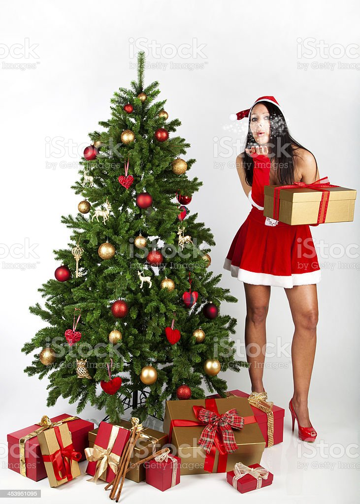 Beautiful girl in a christmas dress royalty-free stock photo
